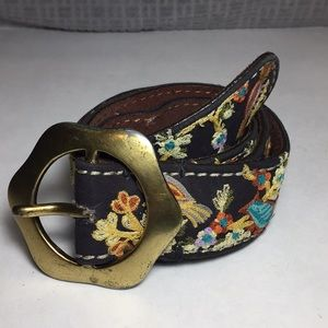 Lucky Brand Embroidered Bird and Flowers Belt